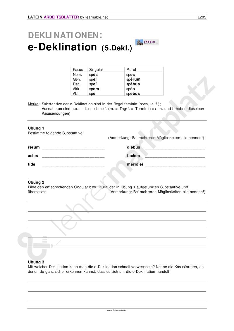 Latein: 5. Deklination (e-Deklination) - Seite 1 | Latein ...
