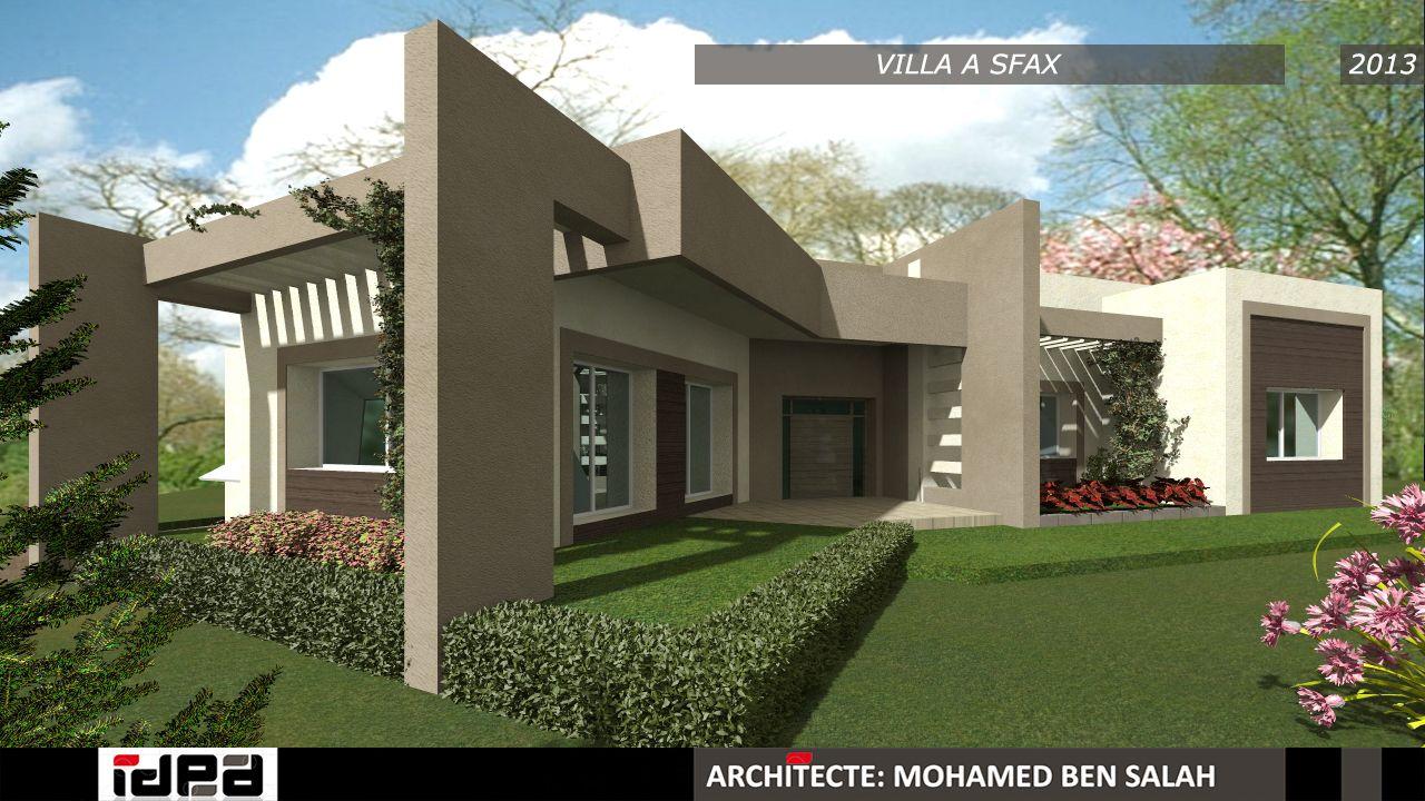 Une belle villa dans la ville de sfax avec une architecture moderne conçu par l