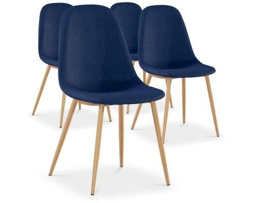 Lot De 4 Chaises Scandinaves Gao Tissu Bleu Chaise Scandinave Chaises Scandinaves Tissu Tissu Gris