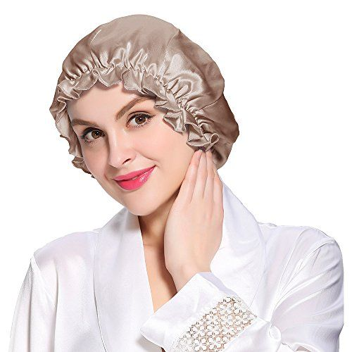 LILYSILK Flounced Night Sleep Cap Hat Pure 19 Momme Mulberry Silk Coffee One Size ** For more information, visit image link.