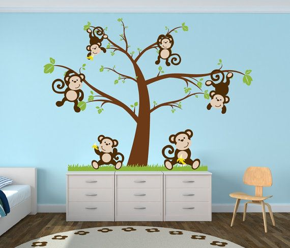 Nursery Tree Decal With Monkeys Decor By
