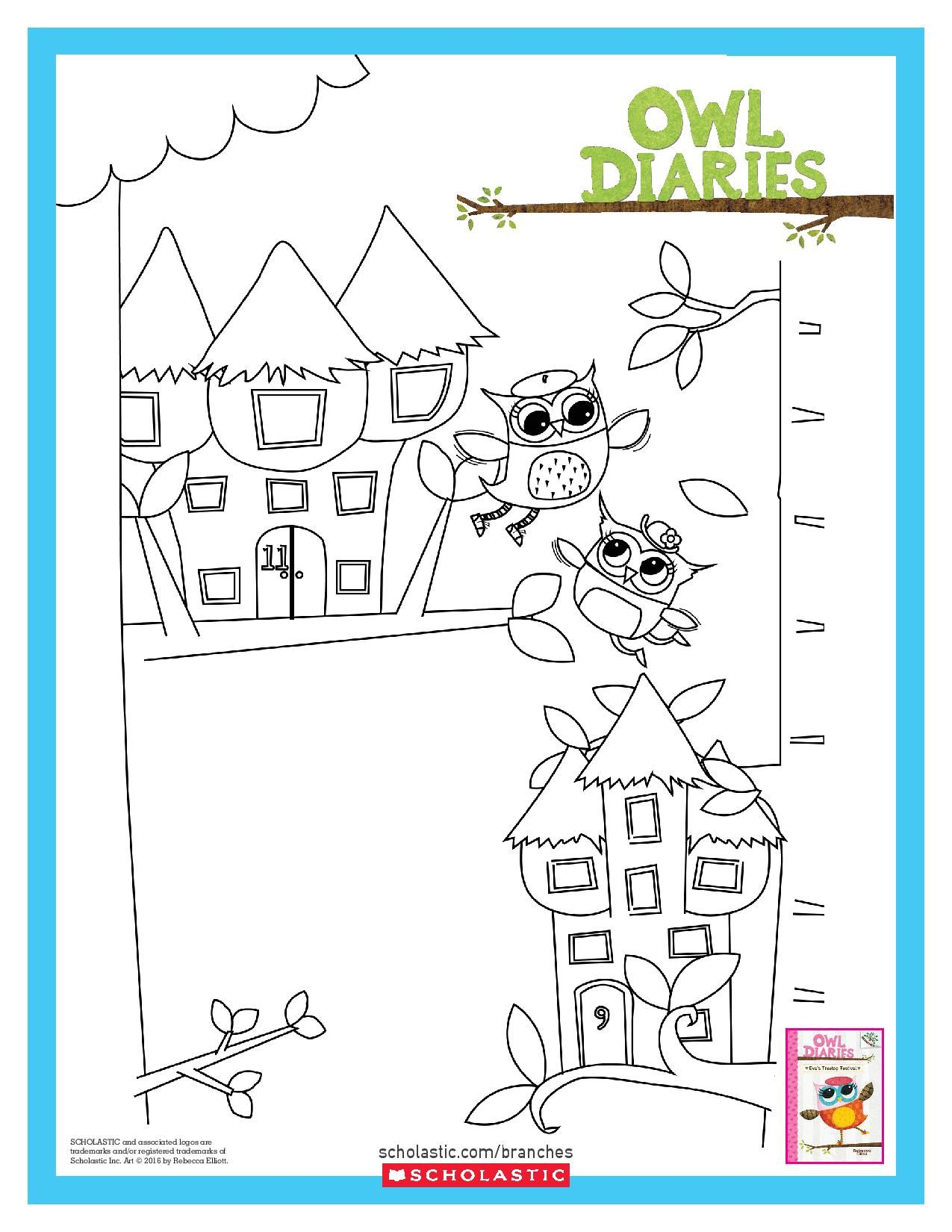 color eva and her treetop home in this scholasticbranches coloring sheet for owl diaries