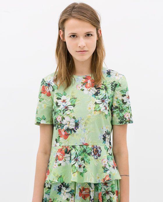 97155b965 Image 1 of PRINTED PEPLUM TOP from Zara | 2014!!! | Floral tops ...