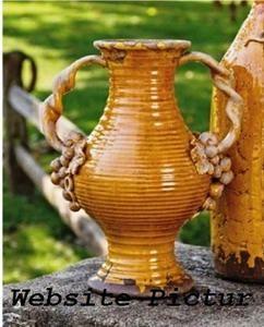 Tall Tuscan Italia Olive Jar Double Handle Vase