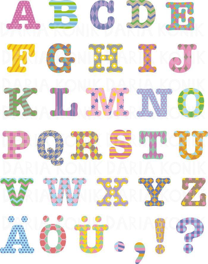 Gemustertes Alphabet: ABC Großbuchstaben, farbiges Alphabet ...