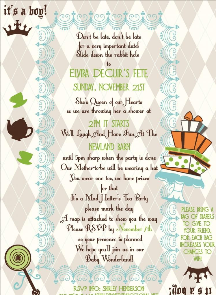 Mad Hatter Tea Party Baby Shower Invitation by @Marsinah! | My Decor ...