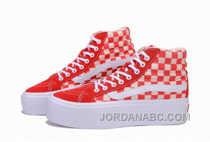 84f8730bc2b Vans SK8-Hi Platform Classic Red White Checkerboard Womens Shoes ...