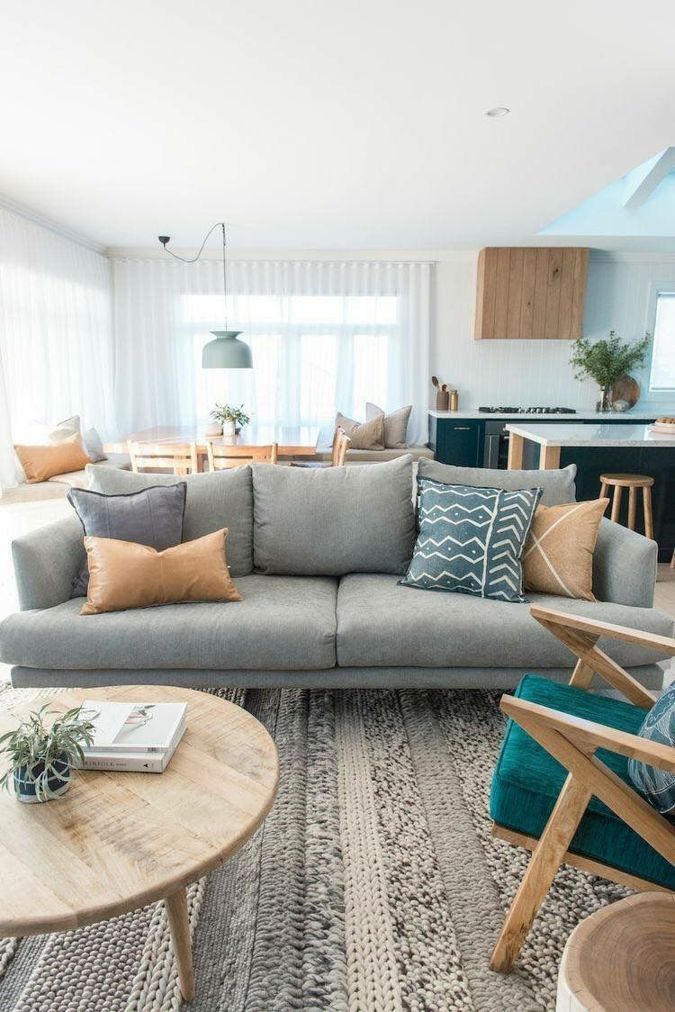 grey and hints of teal   Living room decor apartment