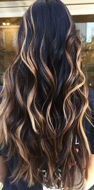 Golden Blonde Balayage Highlights on Dark Hair