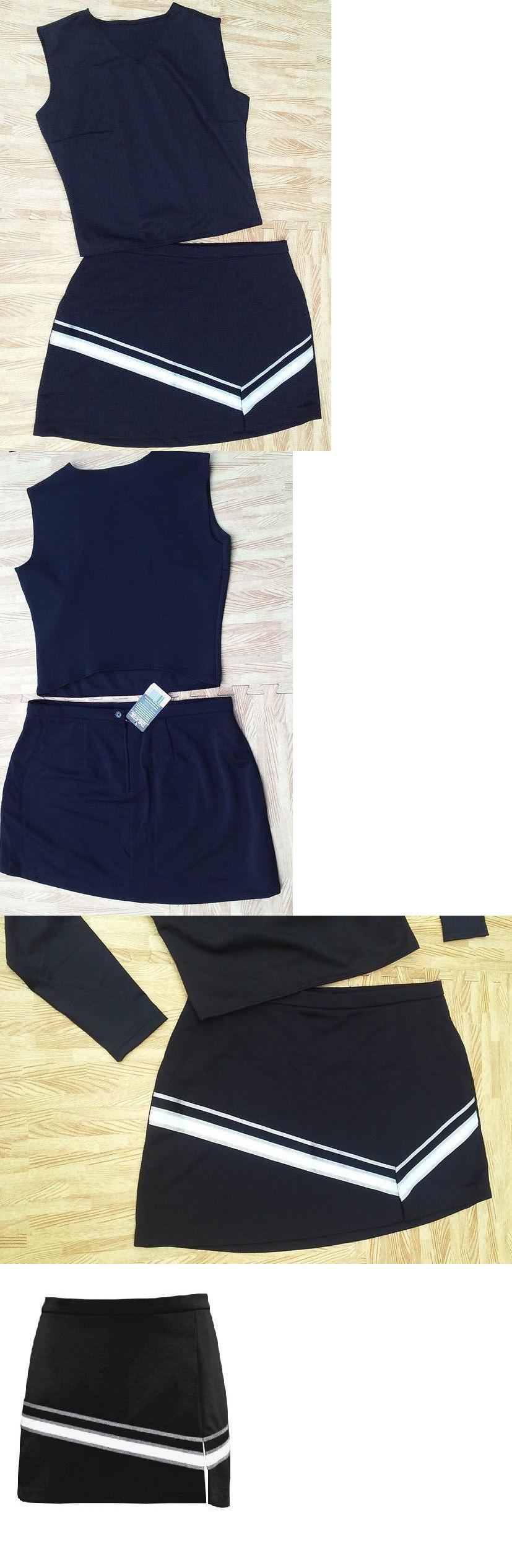 4516456150c Cheerleading 66832  Sexy Adult Plus 2Xl 18 20 Black Cheerleader Uniform Top  Skirt 42-