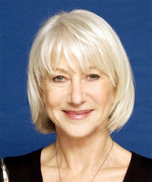 Helen Mirren Medium Straight Light Platinum Blonde Hairstyle