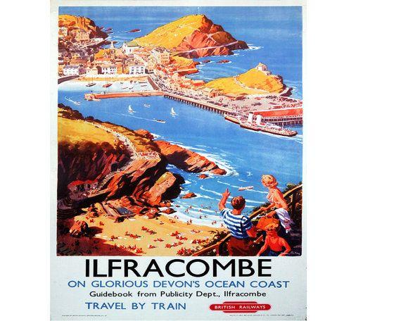 Torquay Glorious Devon Seaside Harbour Railway Advert Small Metal Steel Sign