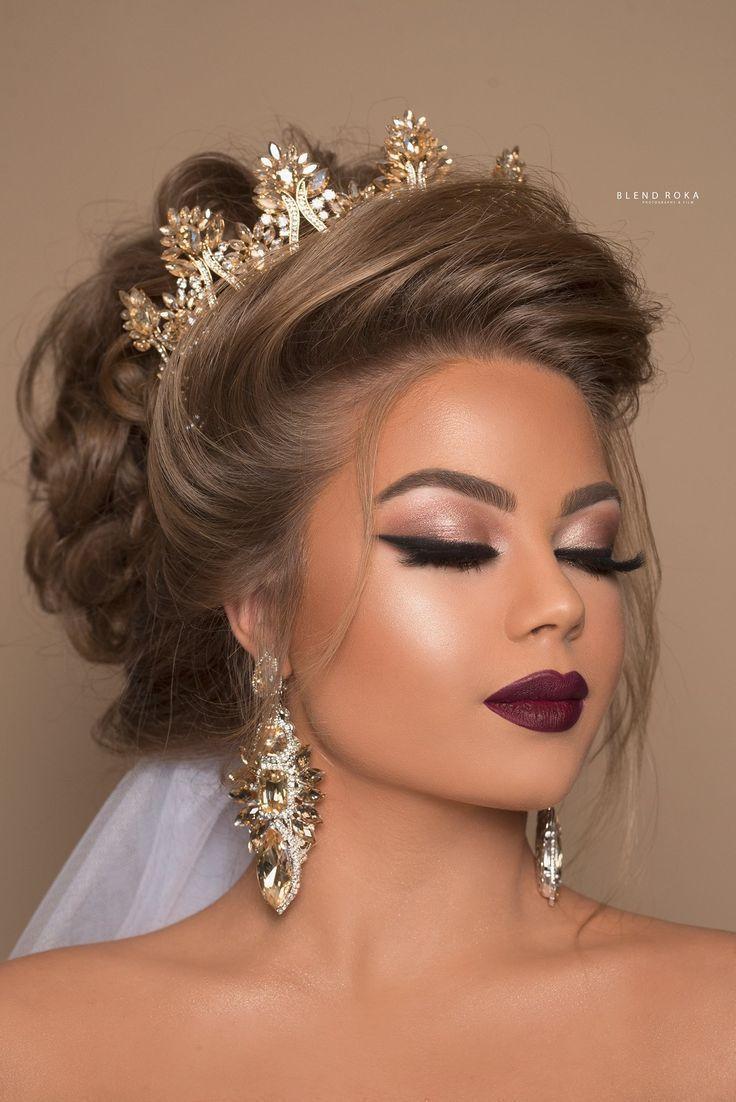 Bridal Hair Makeup Crown. Beautiful – – – Lipstick Models    #beautiful #Bridal …