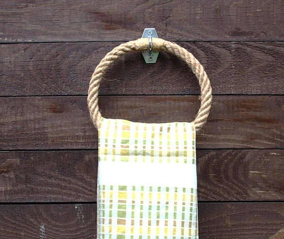 Rope Towel Ring-handmade - natural hemp rope- for bathroom or - handtuchhalter für küche