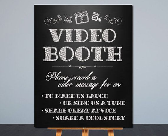Wedding Video Booth Sign Printable Wedding Sign Chalkboard Sign Card Table Sign 8x10 In Wedding Video Booth Video Booth Sign Wedding Chalkboard Signs