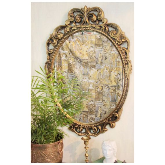 large dark gold wall mirror  ornate mid by ninedoorsvintage