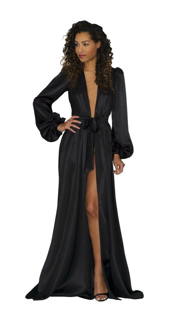 Simone 100 Silk Robe Black Silk Satin Floor Length Robes Etsy