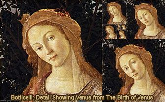 Botticelli: Detail Showing Venus from Primavera and Golden Rectangles, Droste Effect. HTML5 Animation for iPad
