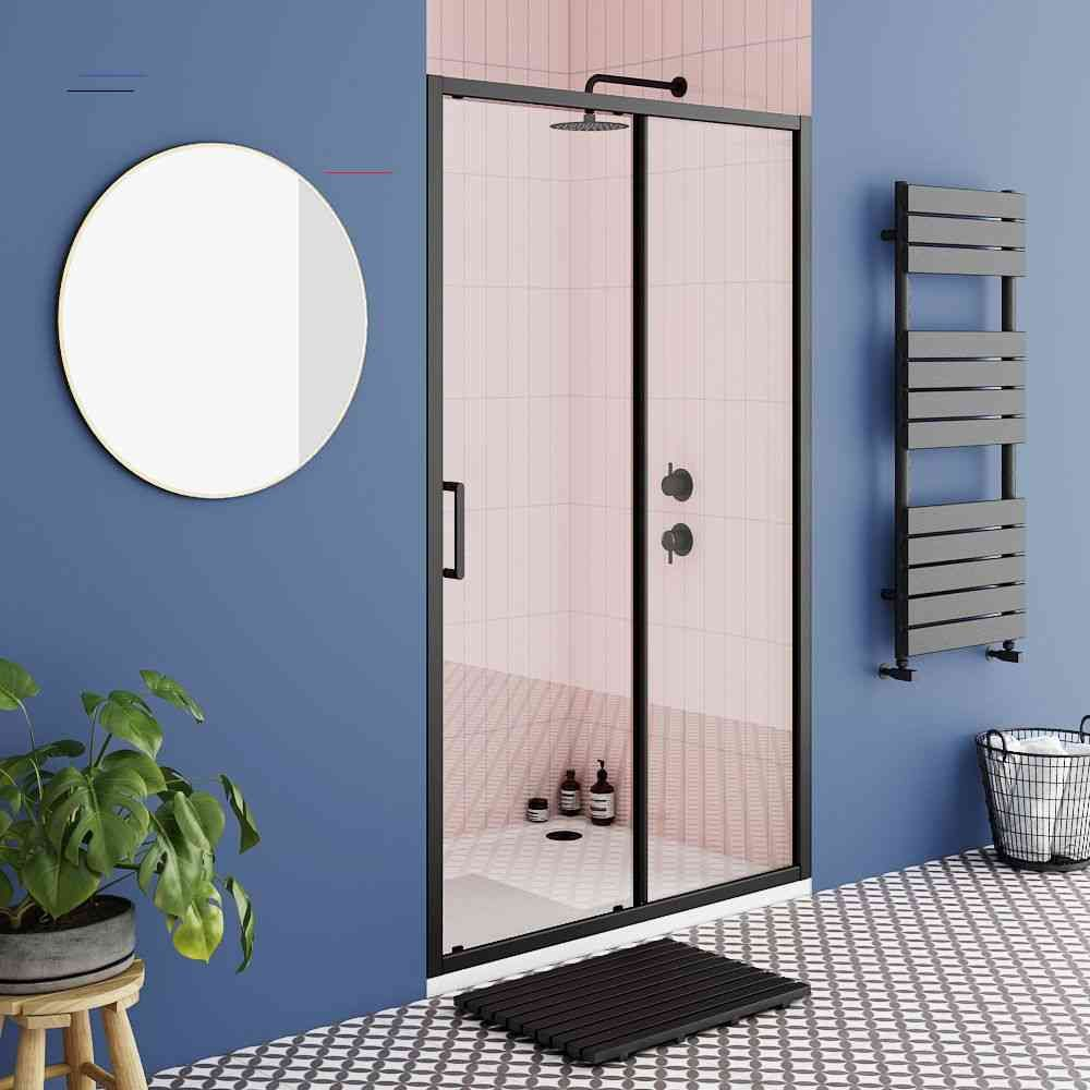 Turin Matt Black 1000 X 1850 Sliding Shower Door Victorian Plumbing Uk Slidingshowerdoors Turin Matt Black 980mm Wide Sliding Shower Door For Us In 2020 Architekt