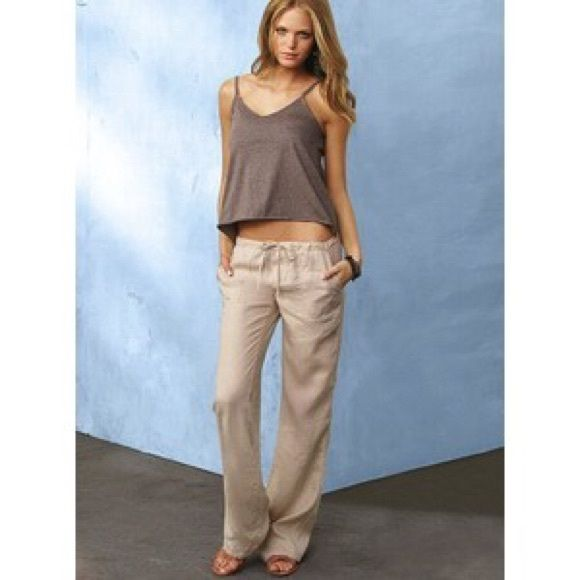 029997b99c NWT Victoria's Secret Linen Beach Pant 100% linen jaw string pant with front  pockets in