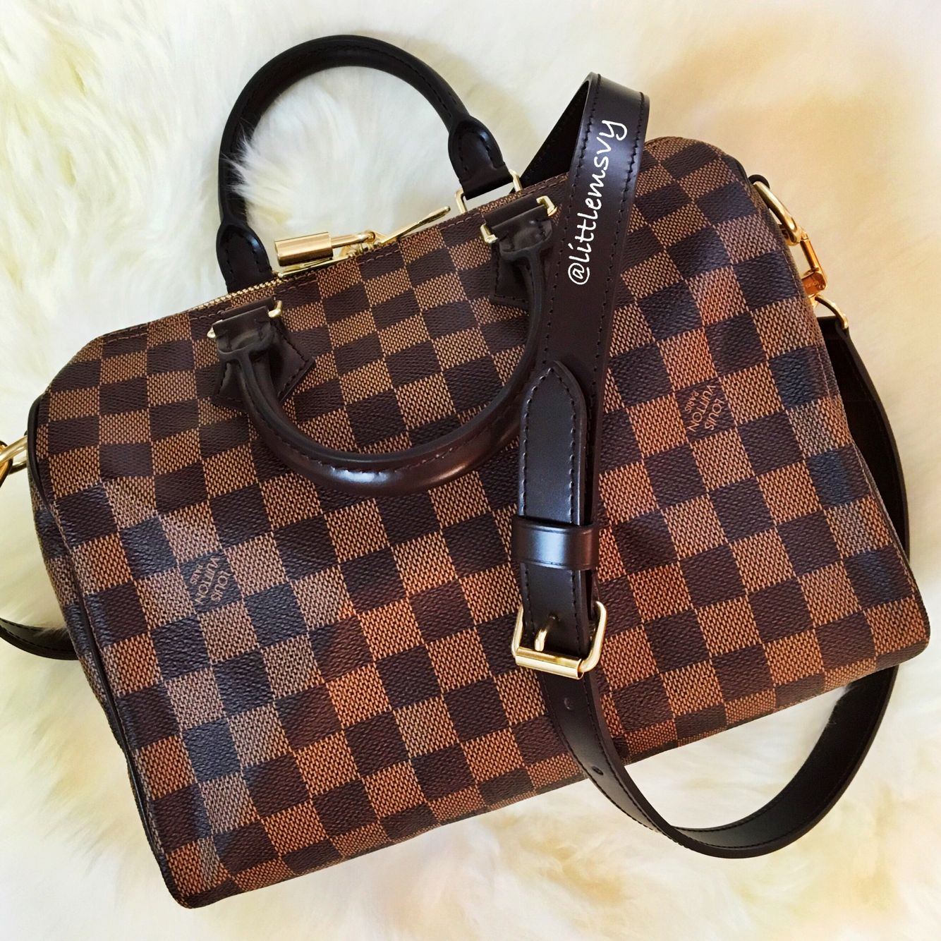 def027f23198 Then Handbag! Louis Vuitton Speedy Bandouliere 25 in Damier Ebene ...