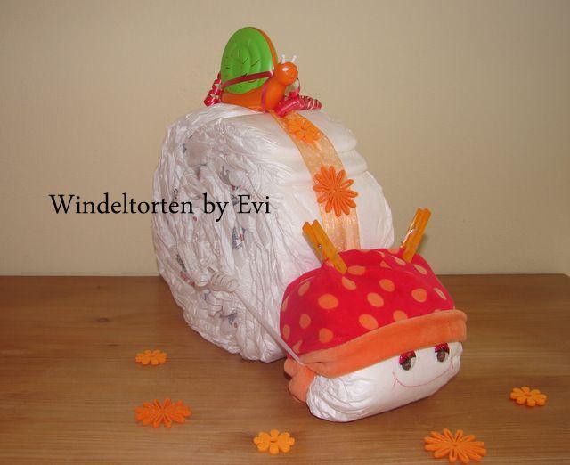 Windelschnecke 'Friends', Windeltorte Mädchen von Windeltorten By Evi auf DaWanda.com