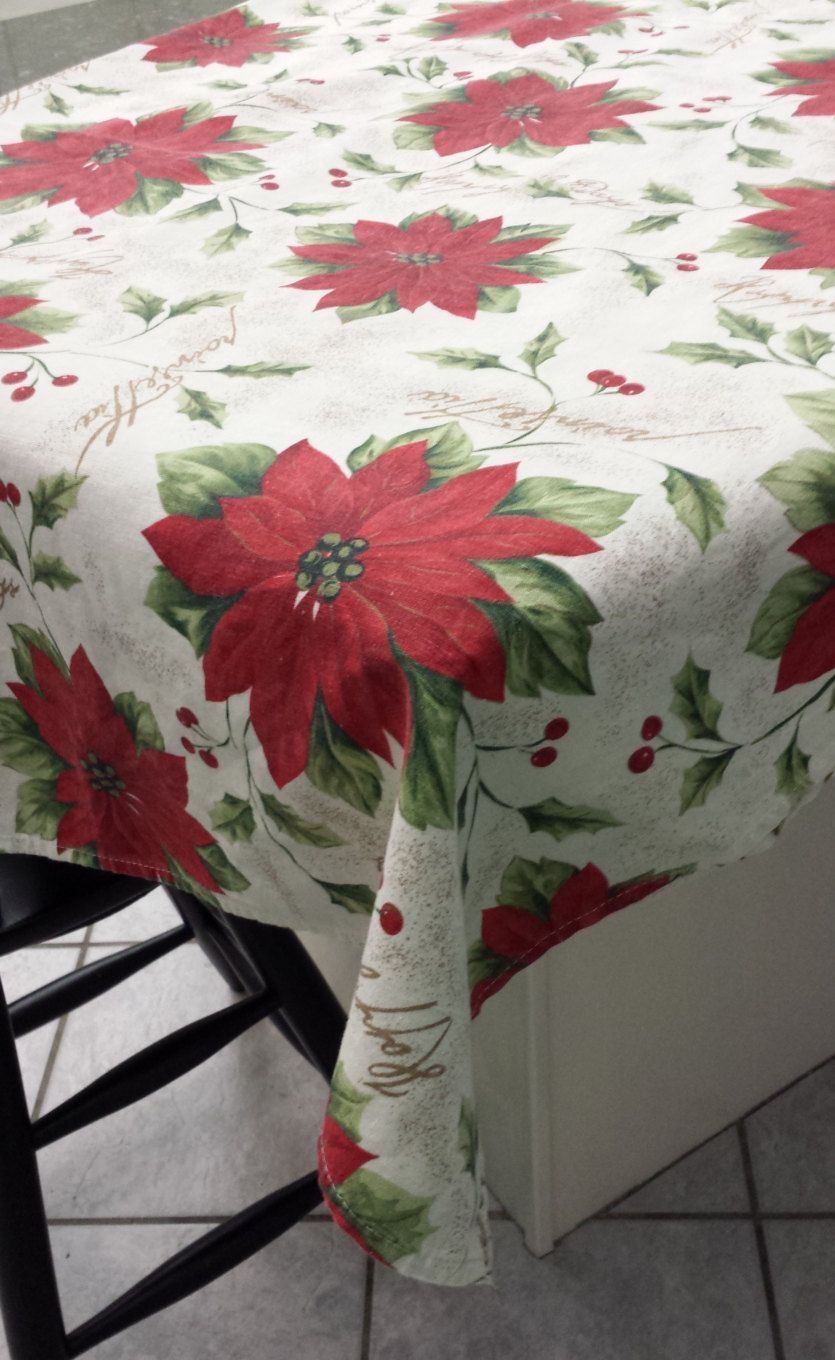 Delicieux 60 X 80 Inch Rectangle Linen Christmas Tablecloth By TeresaScholleDesigns  On Etsy