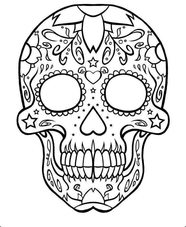Sugar Skull Plain Skull Coloring Pages Coloring Pages Sugar Skull Tattoos
