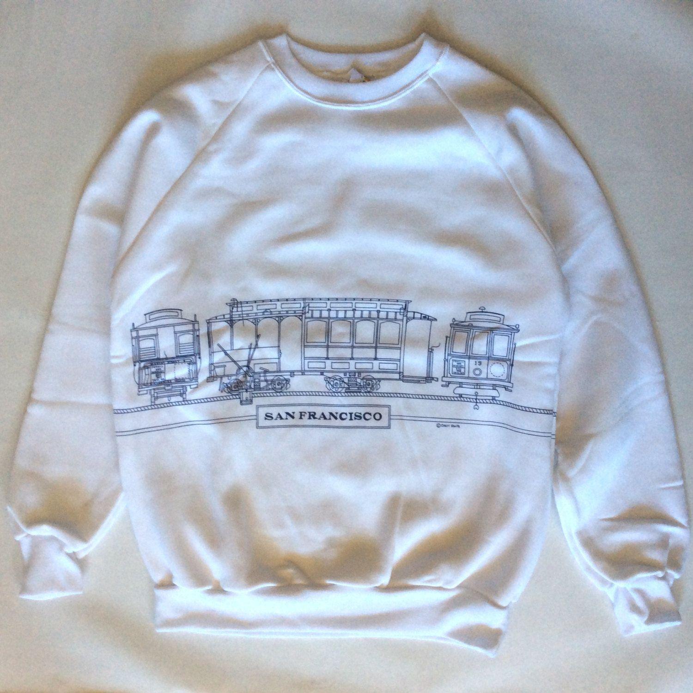 Vintage San Francisco Tourist Sweatshirt White With Cable Car Etsy Sweatshirts Weird Shirts White Sweatshirt [ 1500 x 1500 Pixel ]