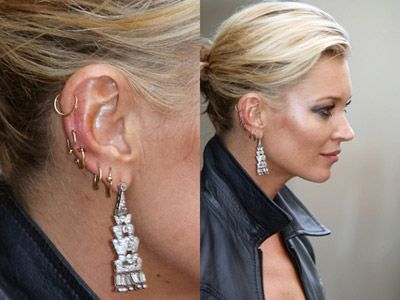 Celebs With Multiple Ear Piercings Kate Moss Celebrities With