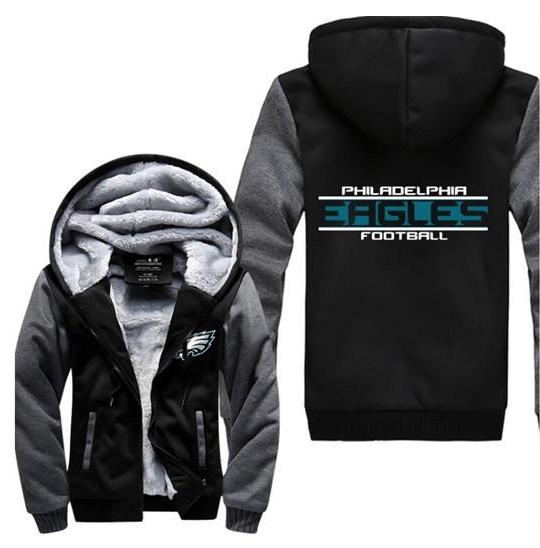 NFL Philadelphia Eagles Men Winter Fleece Hoodie Coat Thicken Jacket Sweatshirt