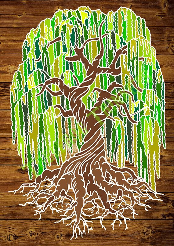 Weeping Willow Tree Papercut Template