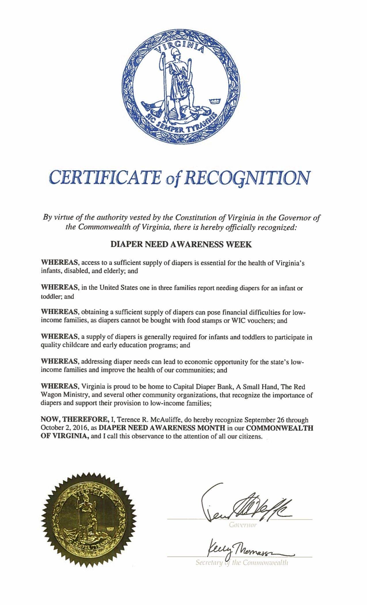 VIRGINIA- Governor Terry McAuliffe proclamation recognizing Diaper Need Awareness Week (Sep. 26-Oct. 2, 2016) #DiaperNeed Diaperneed.org