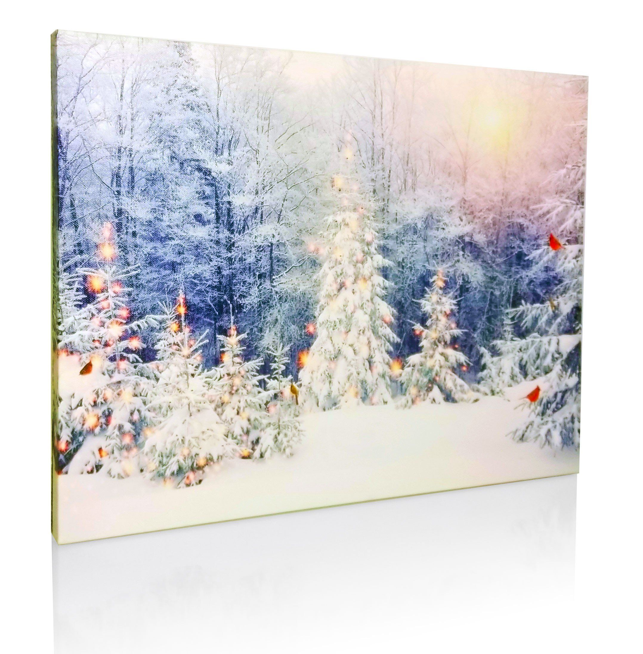 Winter Scene Canvas Print Led Light Up Print With Red Cardinals And Snowy White Christmas Trees White Christmas Trees Colorful Christmas Tree Winter Scenes