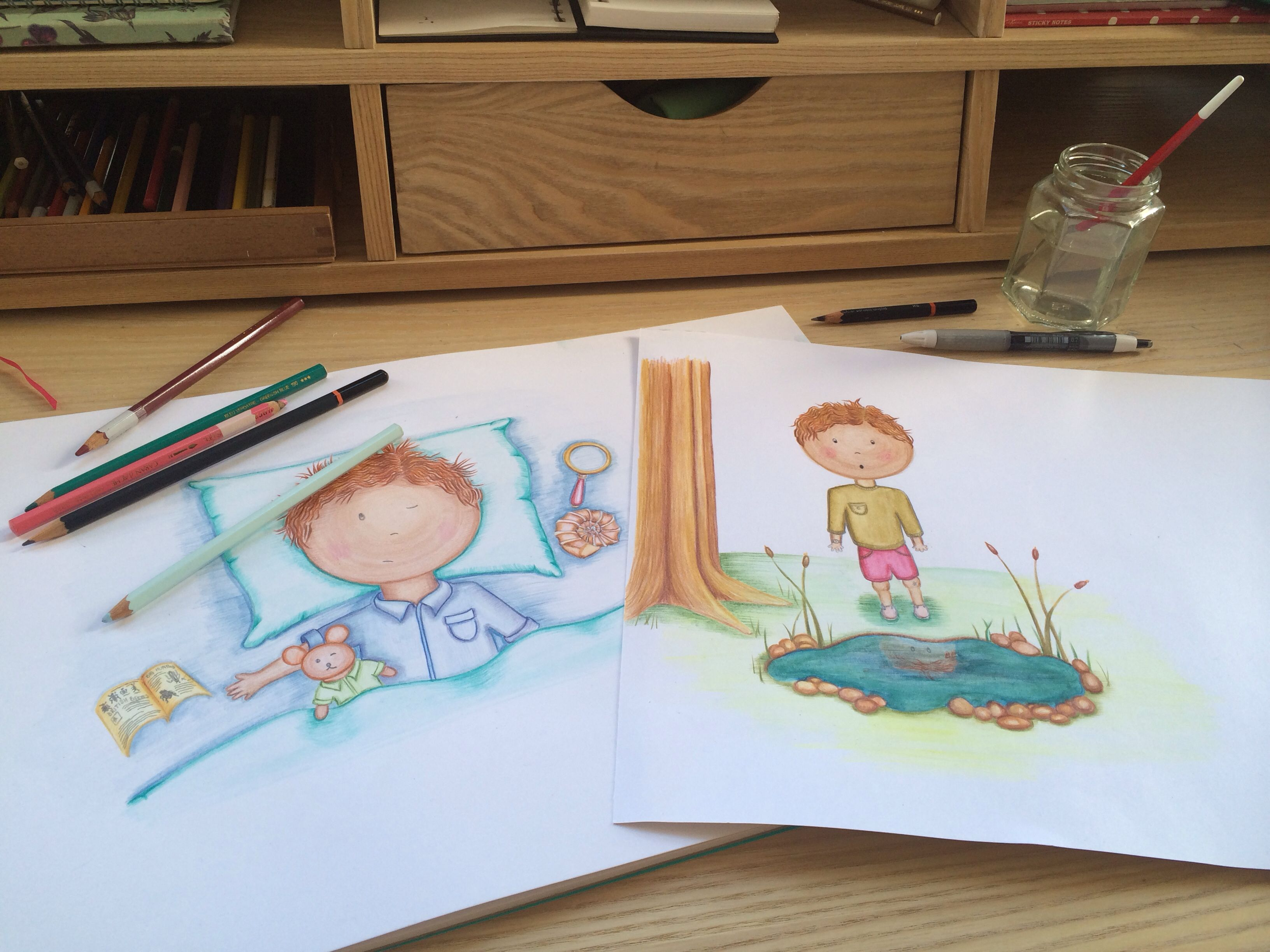 Children S Book Illustration Watercolour Pencil Boy Character