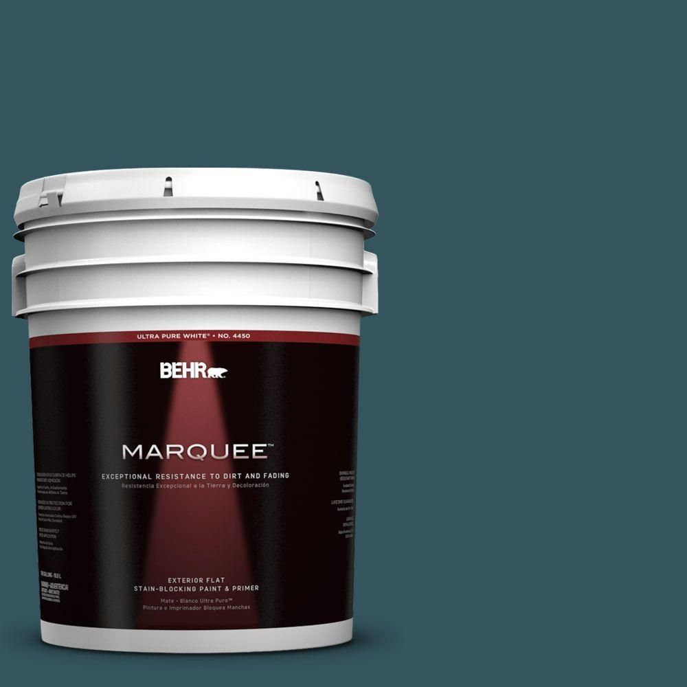Behr Marquee 5 Gal 520f 7 Kingfisher Flat Exterior Paint And Primer In One 445305 Behr Marquee Behr Marquee Paint Exterior Paint