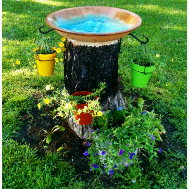Dadis Had To Chop Down Our Tree And Turned The Stump Into A Bird Bath