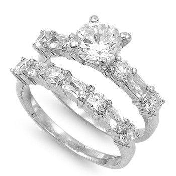 Alena's 1CT Brilliant Cut CZ Wedding Ring Set with Baguettes #CZWeddingSet