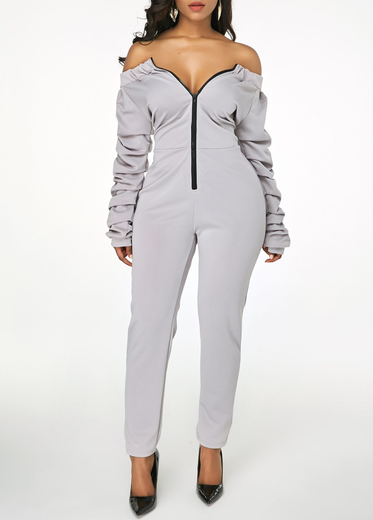 ad3622a3ac9c Light Grey Zipper Front Ruched Sleeve Jumpsuit