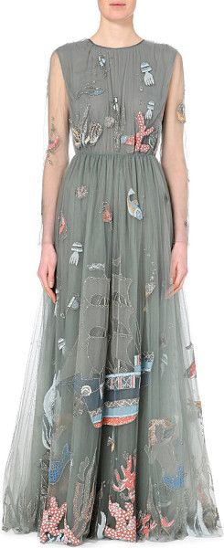 Valentino Embroidered Tulle Gown - For Women in Green (Dark green / blue)