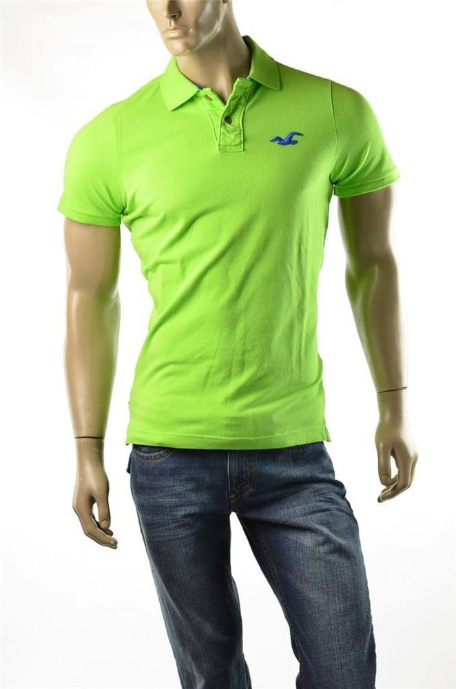 Hollister Polo Shirt Mens Green Scripp Pier NWT S/S T ...