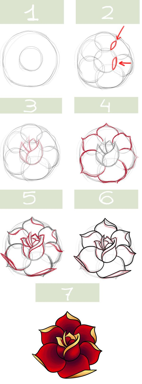 Très Simple roses. My kids always draw roses :/ I must show them this  HJ79