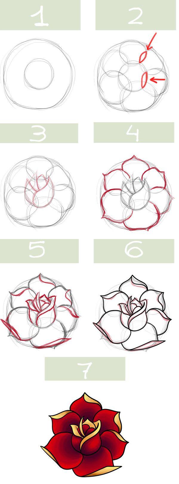Dessiner Une Rose Dessin Pinterest Dessin Rose Dessin Et