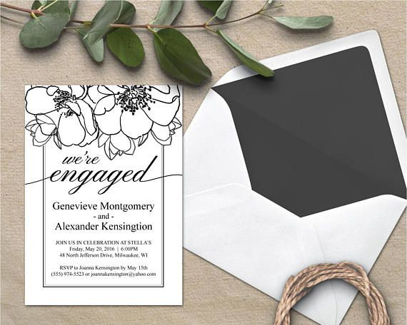 Engagement Invite Templates New Floral Engagement Announcement Engagement Invitation Template .
