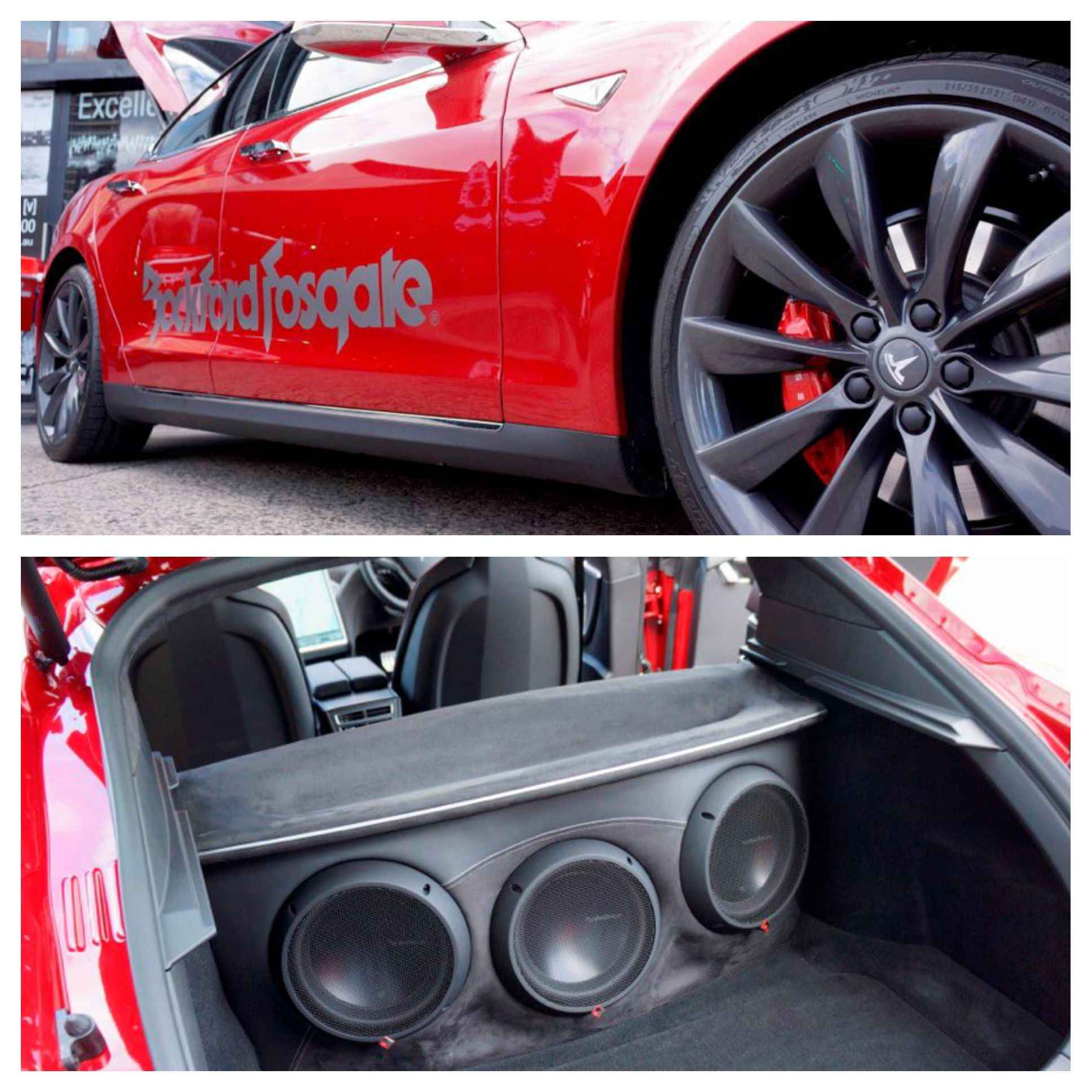 Who would cruise this Tesla loaded with #RockfordFosgate #Power #T1 subwoofers? Photo courtesy of Road and Beyond.