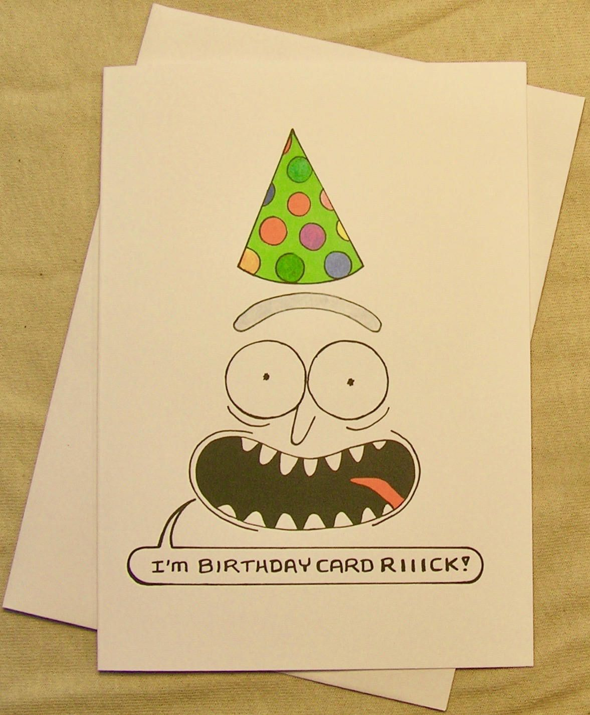 Rick And Morty Birthday Card Birthday Card Rick Regular Size Card And Mini Version A Lunar Eclipse Cartoon Birthday Card Cards Birthday Cards Rick And Morty