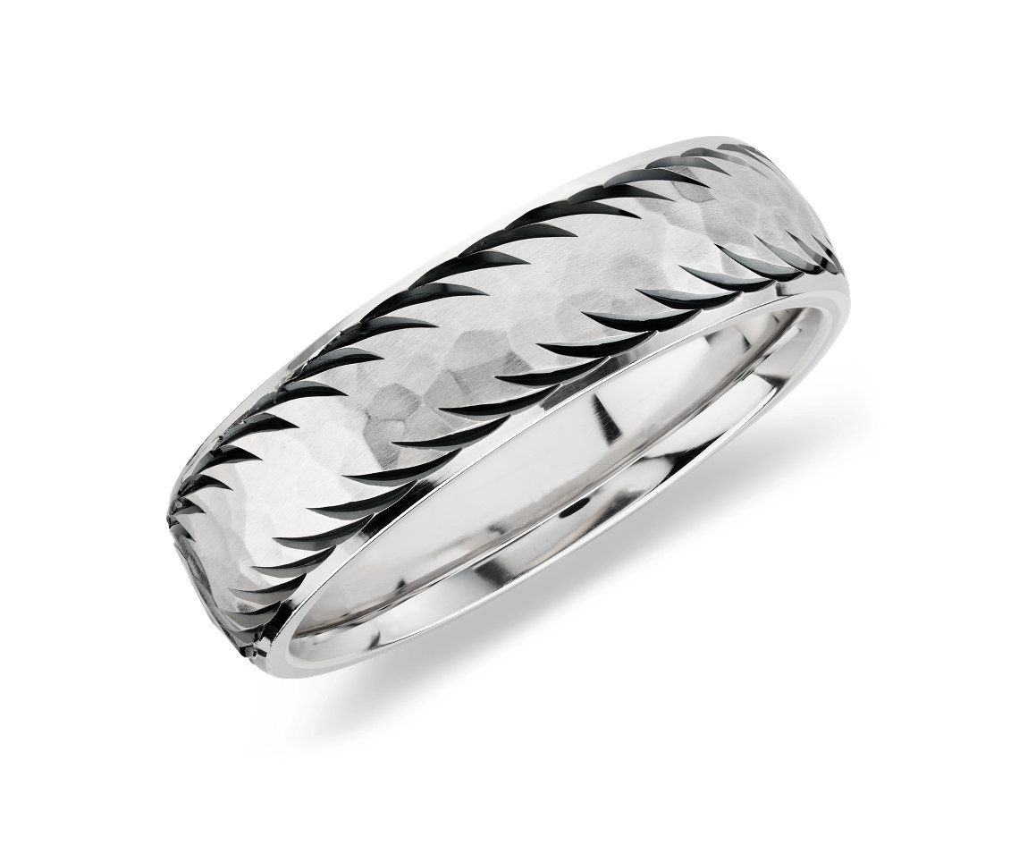 Mens Wedding Ring In Sterling Silver With 14k White Gold BlueNile