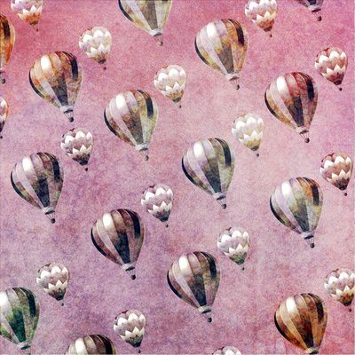 Vintage Hot Air Balloons Pink purple Retro Floral Damask Art Print by Girly Trend