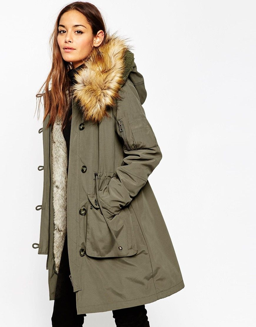 363b13516 ASOS Parka With Detachable Faux Fur Liner size 2!! | Birthday Wish ...