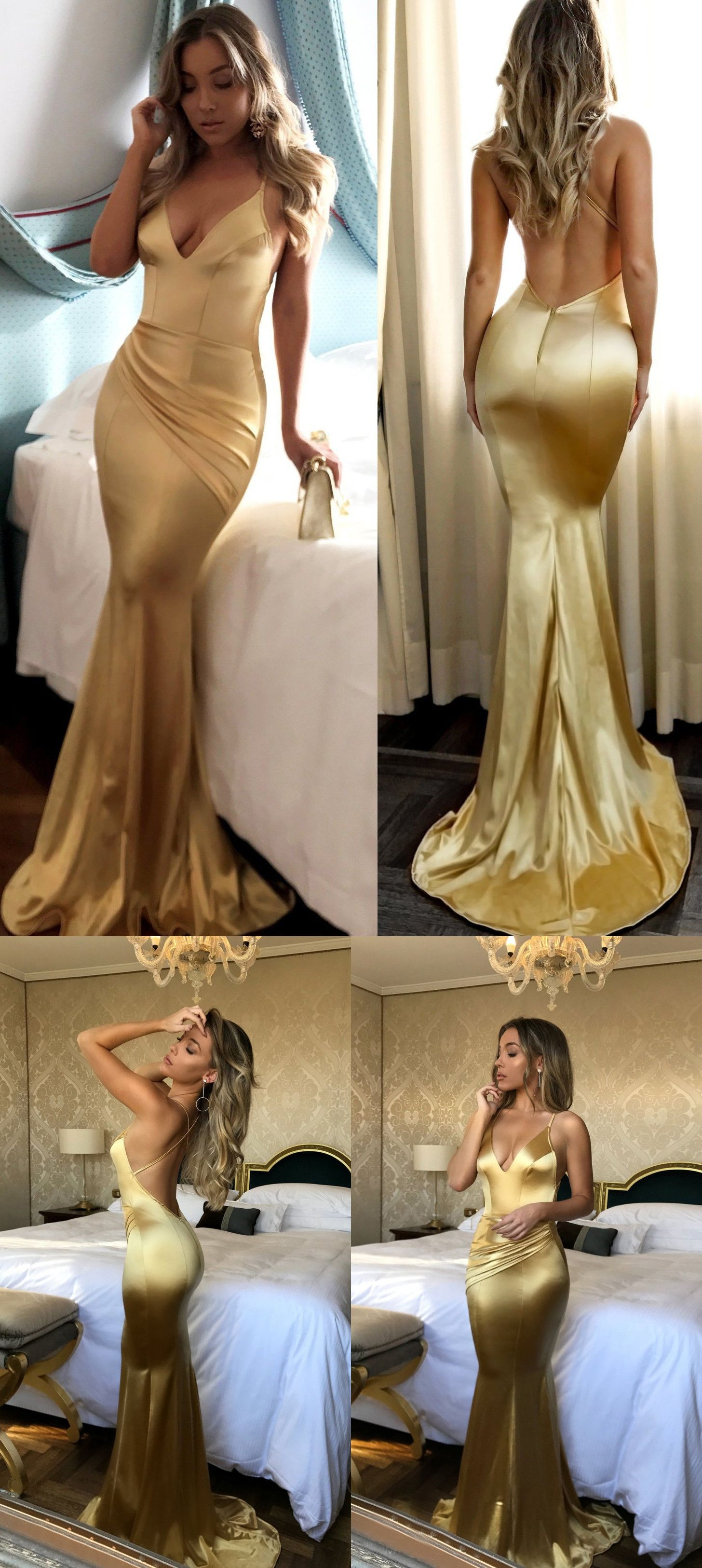 Mermaid prom dresses short train spaghetti straps long sexy gold